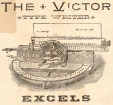 1800's Victor Typewriter Victorian Advertising TRADE CARD G Johnson Boston Agent