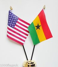 United States of America & Ghana Double Friendship Table Flags