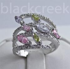 925 Sterling Silver ~ 2ct Multi-Colored Sapphires ~ Mother's or Dinner Ring 7.25