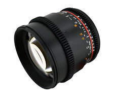 Samyang 85mm T1.5 Aspherical Cine Lens  w/ De-clicked Aperture For Nikon
