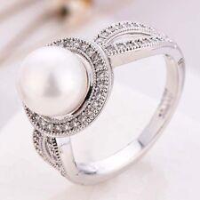 Elegant Women 14K White Gold Filled White Pearl Wedding Engagement Ring Sz 6-10