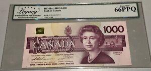 1988 Bank of Canada $1000 - Legacy Gem New 66PPQ - Rare - S/N: EKA0658231