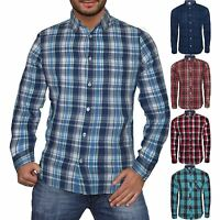 Mens Ex Next Long Sleeve Casual Check Print Smart 100% Cotton Work Shirt RRP £32