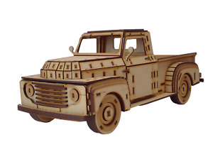 3D Wooden Puzzle, Craft Model Kit for Adults and Kids, 1948 Ford Pickup Truck