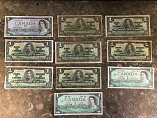 Lot Of (10) Canadian Currency $5, $1 Dollars