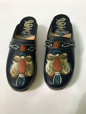 Vtg Ceder Sko Swedish blue hand painted Clogs Wood & Leather 36 / Us sz 6 /6.5