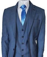 Mens Designer Cavani Mens Suit Blue Jay 3 Piece Work, Wedding or Party Suit