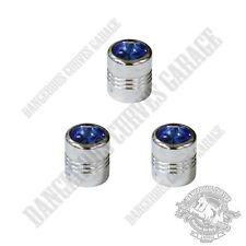 3 Chrome Billet Aluminum Swarovski® Blue Diamond Wheel Valve Stem Dust Caps