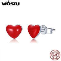 Wostu 925 Sterling Silver Red heart Earring Stud Fashion ear Stud For Girls