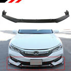 For 2016-17 Honda Accord Gt Style Gloss Black Front Bumper Lip Spoiler Splitter