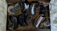 Hornbecher mit Henkel, 300 - 500 ml, aus Horn, Methorn, Trinkhorn, Wikinger LARP