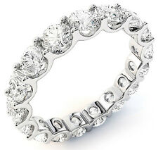 "4.23 ct Round Diamond Eternity Ring 14K White Gold Band 17 x 0.25 ct ""U"" shape"
