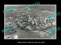 OLD LARGE HISTORIC PHOTO OF MIAMI FLORIDA AERIAL VIEW OF THE CITY c1940