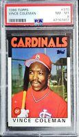 1986 Topps Vince Coleman RC PSA 8 NM- Mint St. Louis Cardinals Great! Nice Card!