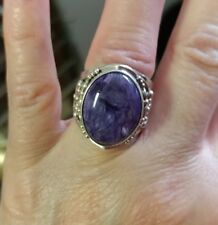 sterling silver Sajen Charoite ring size 5-6.5