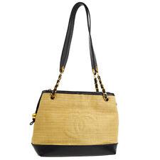 0483f86a9d7a Auth CHANEL CC Logos Shoulder Tote Bag Beige Black Linen Leather GHW AK23527