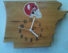 Arkansas Razorbacks state wood wall clock with team logo 16 X 12 X 1.5 inches