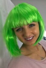 SHORT GREEN BOB FUNKY BRIGHT FULL WIG CHEAP HALLOWEEN FANCY DRESS FASHION LADIES