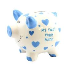 'My First Piggy Bank' MINI Money Box White with Hearts 12cm - Blue