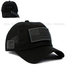 USA American Flag hat Patch Mesh Tactical Operator Military Baseball cap- Black