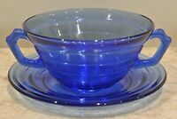 Cobalt Blue MODERNTONE Depression Glass Double Handled Soup Bowl and Plate