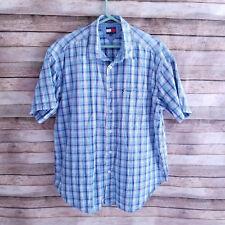 Vintage Tommy Hilfiger Jeans Short Sleeve Button Up Mens Plaid Shirt XL Spellout