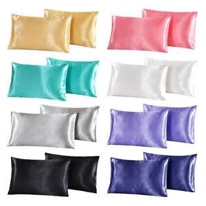 A pair Standard Queen King Satin Silk Pillowcase Pillow Case Cover Home Bedding