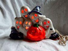 Vintage Halloween Ceramic Ghost Light Black Cat Jack O Lantern