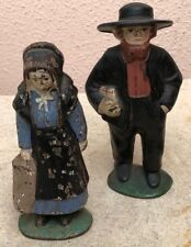 ANTIQUE MINIATURE IRON FIGURES OF TRADITIONAL AMISH HUSBAND AND WIFE (1)