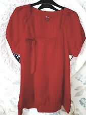 Women's Monsoon 100% silk short sleeved blouse.  Colour Red. Size UK 14 NWOT