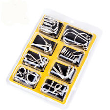 8Pcs IQ Brain Teaser Toys Stainless Steel Metal Ring Puzzle for Kid Adult Game
