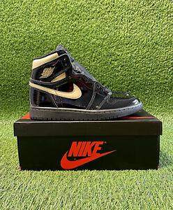 Nike Air Jordan 1 High Black Metallic Gold UK 5.5