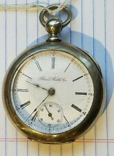 Illinois Watch company Key Wind Pocket Watch 18s Nickel Silver Case made 1887