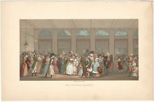 The Wooden Gallery Satirical 18th Century Ball - 19th C. French Color Lithograph