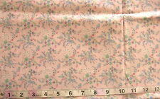 1 1/2 yd Cotton Fabric Peachy Pink with Flower/Ribbon in Blue/Salmon/White