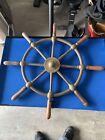 Vintage John Hastie & Co Ltd Greenock Brass Ship Wheel With Wooden Handles RARE!