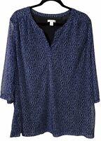 Croft & Barrow Women's Plus Size 3X Animal Print Top 3/4 Sleeve V-Neck Blue
