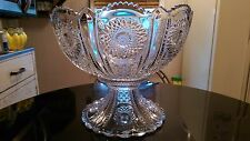 Antique Hiesey 24 Cup Punch Bowl On Matching Base