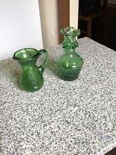 Dark Green Crackle Glass Set