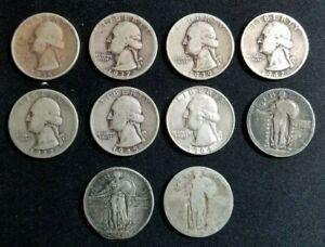 Washington Quarters & Walking Liberty Quarters - Lot of (10), 90% Silver