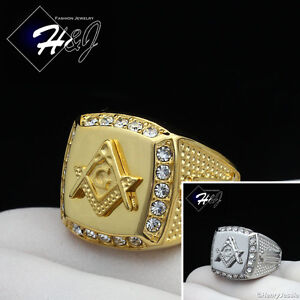 MEN's Stainless Steel Gold/Silver MASONIC CZ Square Ring Size 8-13*R107