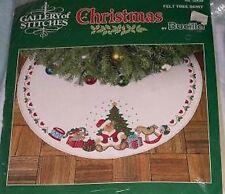 Bucilla Round Christmas Tree Skirt Teddy Bears Felt Gallery of Stitches Kit