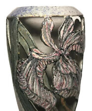 Vintage Mayking Creek Pottery Antigo Wi Iris Cut Out Vase Floral Tall Vase