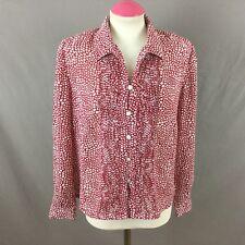 Eastex Red & White Sheer Long Sleeve Spot Print Ladies Shirt Uk 12