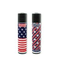 2Ct Full Size CLIPPER Flint Lighters Refillable USA FLAG LEAVES MARIJUANA WEED