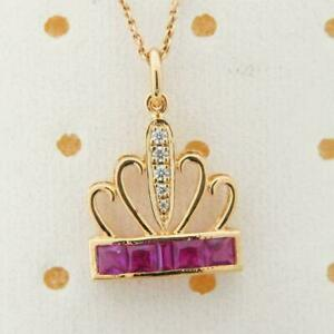 """2.00Ct Princess Cut Red Ruby Crown Pendant 14K Rose Gold Finish 18"""" Free Chain"""