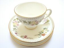 WEDGWOOD MIRABELLE TRIO Set CUP Saucer PLATE Gilded BONE CHINA  8 SETS AVAILABLE