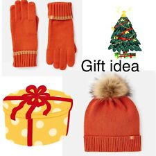 Joules Ladies Christmas Hat And Glove Set Bnwt Orange Stocking Filler