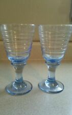 2 Libbey Glass Ice Blue SIRRUS Ring Water Goblets_Set of TWO