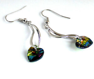 "Heart Love Rainbow Crystal 5cm 2"" Long Dangle Hook Earrings White Gold Plated UK"